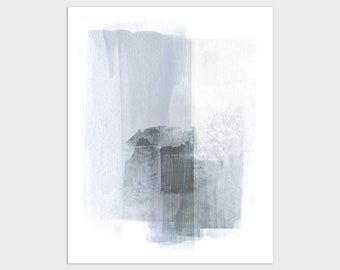 Blue Grey Contemporary Abstract Painting Print, Framed/Unframed Fine Art Paper or Canvas