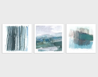 Modern Coastal Abstract Watercolor Wall Art Set of 3 Square Blue and Green Prints, Framed/Unframed Fine Art Paper or Canvas