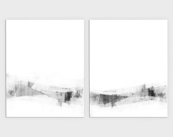 Black and White Minimalist Set of 2 Abstract Prints, Contemporary Scandinavian Style Wall Art, Framed/Unframed Fine Art Paper or Canvas