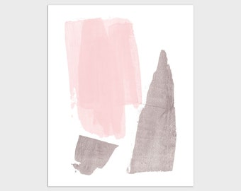 Pink and Grey Modern Minimalist Abstract Brushstrokes Painting Print, Contemporary Nursery Wall Art