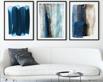 Blue Contemporary Abstract Painting Print Set of 3, Modern Minimalist Wall Art, Framed/Unframed Fine Art Paper or Canvas