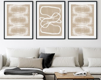White on Taupe Tribal Geometric Abstract Set of 3 Prints, Warm Neutral Contemporary Wall Art, Framed/Unframed Fine Art Paper or Canvas