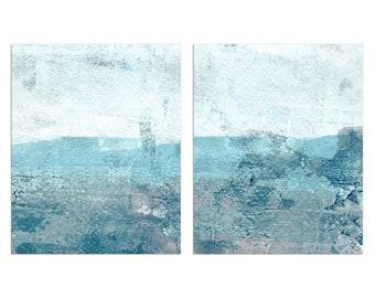 Set of 2 Aqua Blue and Grey Contemporary Minimalist Abstract Seascape Painting Prints, Modern Coastal Wall Art