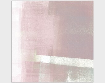 Blush Pink and Grey Square Contemporary Abstract Print, Modern Minimalist Wall Art, Framed/Unframed Fine Art Paper or Canvas