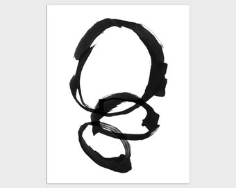 Black and White Modern Minimalist Abstract Ink Painting Print, Framed/Unframed Fine Art Paper or Canvas
