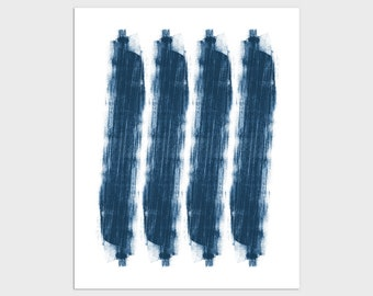Indigo Blue Contemporary Abstract Monotype Reproduction Print, Modern Minimalist Wall Art, Framed/Unframed Fine Art Paper or Canvas