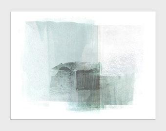 Light Blue Green Modern Minimalist Abstract Painting Print, Horizontal Wall Art, Framed/Unframed Fine Art Paper or Canvas