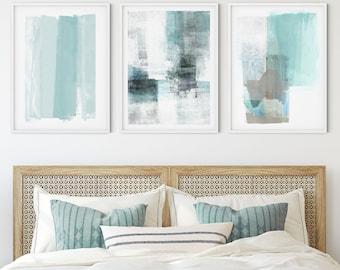 Pale Aqua/Turquoise Blue Abstract Set Of 3 Prints, Modern Coastal Wall Decor, Contemporary Minimalist Wall Art