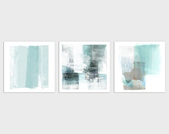 Set of 3 Square Contemporary Abstract Painting Prints in Light Aqua Blue, Modern Coastal Wall Art, Framed/Unframed Fine Art Paper or Canvas