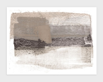 Neutral Beige and Grey Horizontal Modern Abstract Painting Print, Contemporary Minimalist Wall Art