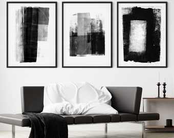 Set of 3 Black and White Modern Abstract Painting Prints, Contemporary Minimalist Wall Art Triptych