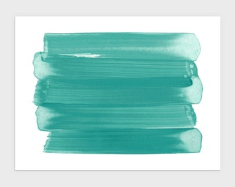 Teal Blue Green Abstract Watercolor Brushstroke Painting Print, Modern Coastal Home Decor, Minimalist Horizontal Wall Art