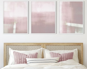 Blush Pink Contemporary Abstract Wall Art, Set of 3 Minimalist Abstract Landscape Prints, Framed/Unframed Fine Art Paper or Canvas