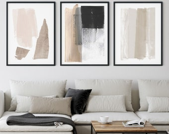 Neutral Minimalist Painting Set of 3 Modern Abstract Prints, Contemporary Scandinavian Style Wall Art