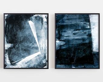 size A4, 21 x 29.7 cm, navy blue statement painting, nautical art, brush stroke painting Original minimalist acrylic painting