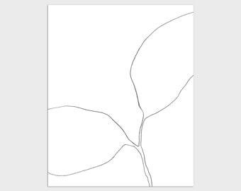 Black and White Contemporary Botanical Illustration Print, Modern Minimalist Plant Line Drawing, Framed/Unframed Fine Art Paper or Canvas