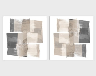 Set of 2 Beige and Grey Modern Geometric Abstract Painting Prints, Square Contemporary Minimalist Wall Art