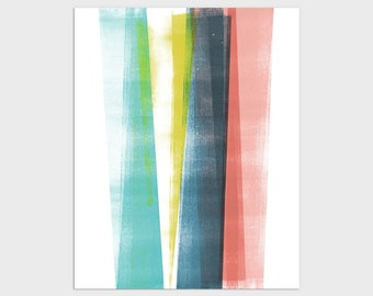 Colorful Modern Minimalist Geometric Abstract Print, Contemporary Scandinavian Style Wall Art, Framed/Unframed Fine Art Paper or Canvas