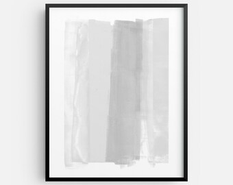 Grey and White Contemporary Abstract Painting INSTANT DIGITAL DOWNLOAD, Modern Minimalist Decor