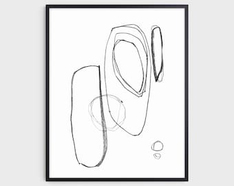 Contemporary Minimalist Geometric Abstract Line Drawing Print in Black and White, Mid Century Modern Style Decor