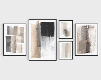 Beige and Grey Neutral Modern Abstract Painting Prints 5 Piece Gallery Wall Set, Fine Art Paper or Canvas