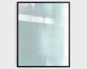 Aqua Blue Green Contemporary Minimalist Abstract Print, Modern Coastal Wall Art, Fine Art Paper or Canvas