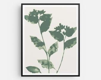 Sage Green Flowers Art Print, Modern Bohemian Botanical Wall Decor, Boho Floral Artwork, Fine Art Paper or Canvas