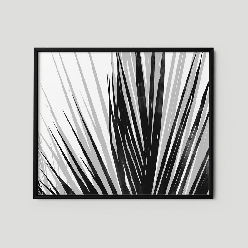 756e831c91 Palm Leaf Print in Black and White Tropical Home Decor | Etsy