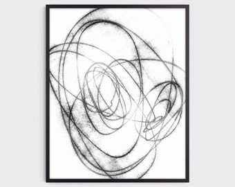Black and White Minimalist Abstract Line Drawing Print, Modern Industrial Wall Art, Fine Art Paper or Canvas