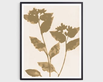 Neutral Beige Flowers Art Print, Modern Boho Farmhouse Wall Decor, Fine Art Paper or Canvas