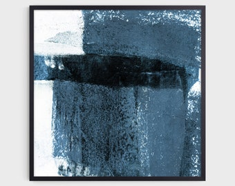 Contemporary Minimalist Blue Grey Square Abstract Print, Fine Art Paper or Canvas