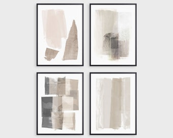Set of 4 Neutral Beige and Grey Modern Abstract Painting Prints, Contemporary Minimalist Wall Art, Fine Art Paper or Canvas
