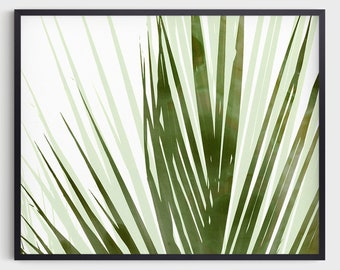 Olive Green Palm Leaf Print, Horizontal Abstract Botanical Watercolor, Tropical Home Decor, Fine Art Paper or Canvas