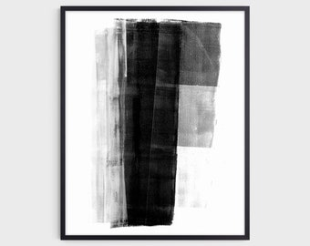 Black and White Modern Geometric Abstract Painting Print, Contemporary Minimalist Wall Art, Fine Art Paper or Canvas