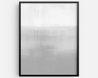 Neutral Modern Minimalist Abstract Landscape INSTANT DIGITAL DOWNLOAD, Grey and White Contemporary Wall Art