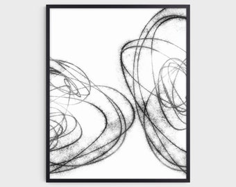 Black & White Minimalist Geometric Abstract Line Drawing Print, Scandinavian Wall Art, Fine Art Paper or Canvas