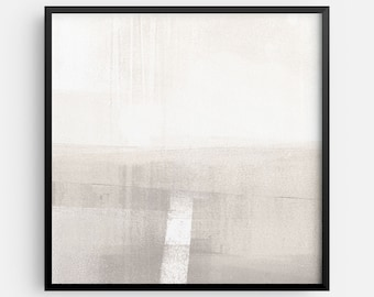 Neutral Contemporary Minimalist Abstract Landscape INSTANT DIGITAL DOWNLOAD, Square Modern Wall Art in Beige and Taupe