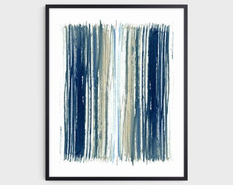 Indigo Blue and Beige Stripes Modern Minimalist Abstract Watercolor Painting Print, Fine Art Paper or Canvas