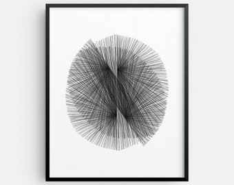 Black and White Geometric Abstract Line Drawing INSTANT DIGITAL DOWNLOAD, Mid Century Modern Decor