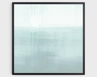 Minimalist Abstract Seascape, Square Wall Art Print, Modern Coastal Art, Aqua Blue Green Bathroom Decor, Fine Art Paper or Canvas