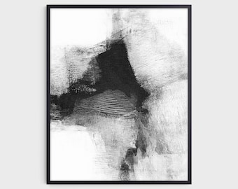 """Black and White Contemporary Abstract Painting Print """"Delve 6"""", Fine Art Paper or Canvas"""