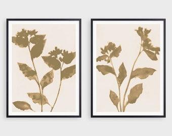 Set of 2 Neutral Beige Floral Prints, Modern Boho Farmhouse Wall Decor, Fine Art Paper or Canvas