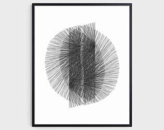 Black and White Mid Century Modern Geometric Abstract Art, Minimalist Retro Decor, Fine Art Paper or Canvas