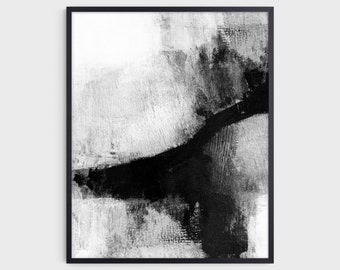 Contemporary Black and White Abstract Painting Print, Modern Minimalist Wall Art, Fine Art Paper or Canvas