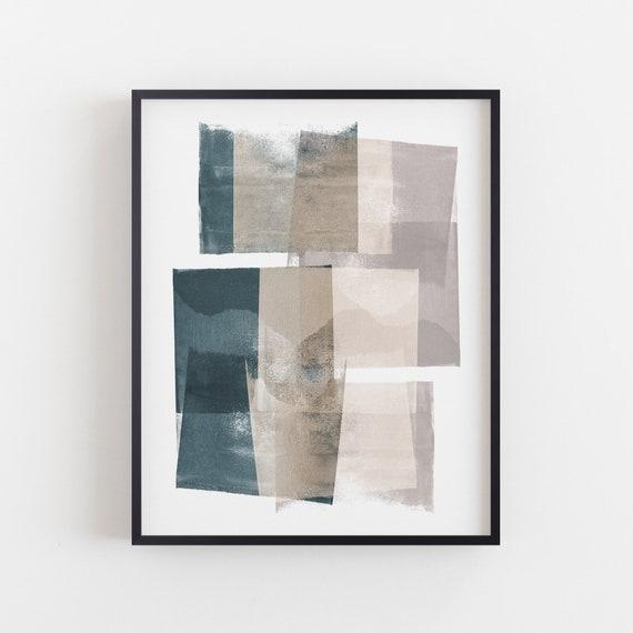 Muted Abstract Art Teal Art Print Geometric Abstract Painting Print Minimalist Wall Art Scandinavian Wall Art Framed Unframed Canvas