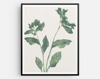 Sage Green Floral Print, Botanical Modern Farmhouse Wall Decor, Boho Flowers Artwork, Fine Art Paper or Canvas