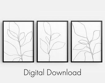 Black and White Botanical Line Drawing Set of 3 INSTANT DIGITAL DOWNLOADS, Minimalist Plant Illustration, Modern Farmhouse Decor