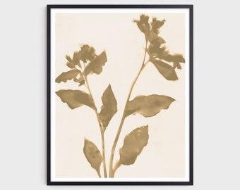 Warm Neutral Floral Art Print, Beige Modern Bohemian Farmhouse Wall Decor, Fine Art Paper or Canvas