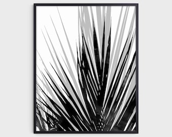 Contemporary Minimalist Palm Leaf Print in Black and White, Modern Tropical Home Decor, Fine Art Paper or Canvas