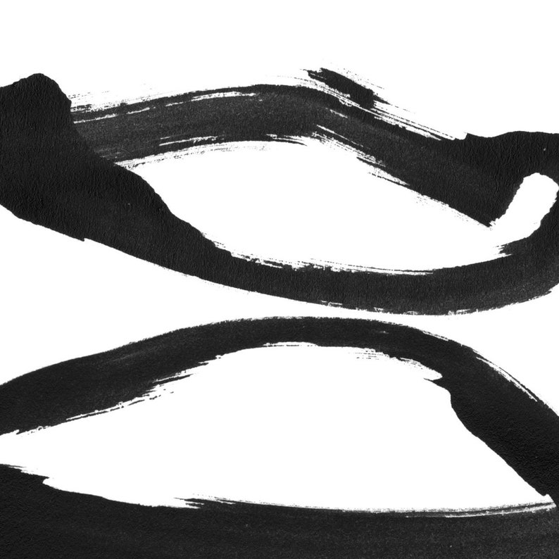 Modern Asian Inspired Wall Art Set of 2 Black and White Contemporary Minimalist Abstract Ink Painting Prints